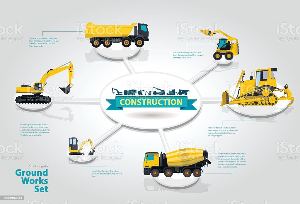 Construction machinery infographic isometric set of ground works machines. vector art illustration