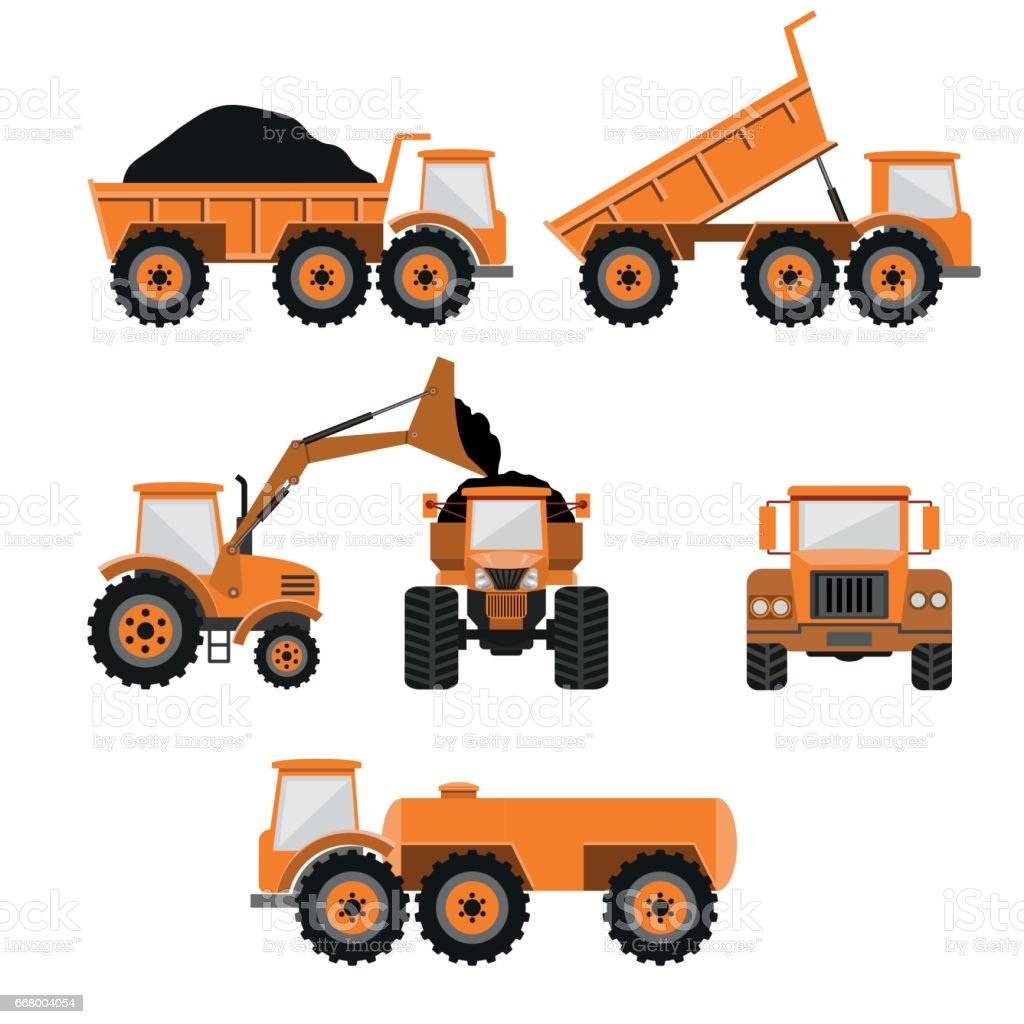 Construction machines and equipment vector art illustration
