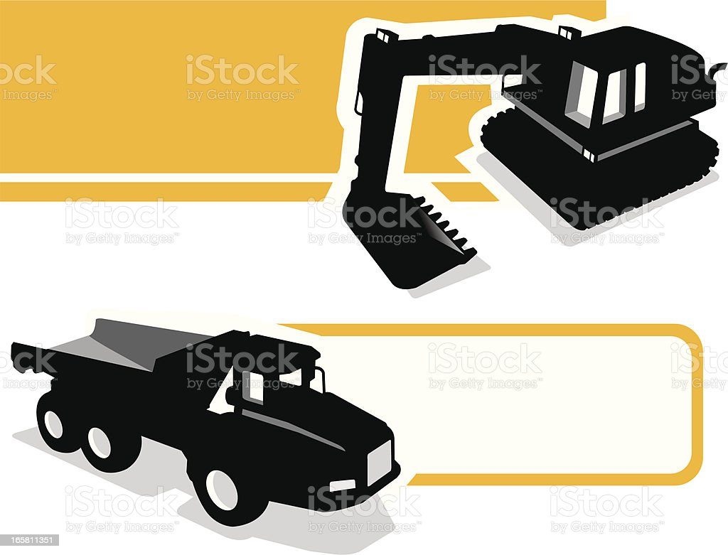 Construction Machines banner vector art illustration