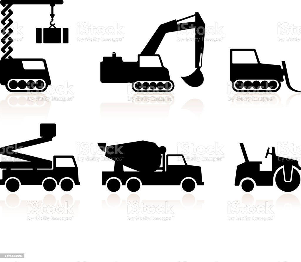 Construction machines black and white royalty free vector icon set royalty-free stock vector art
