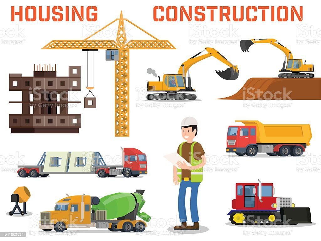 Construction machines builders and house building process Home building process