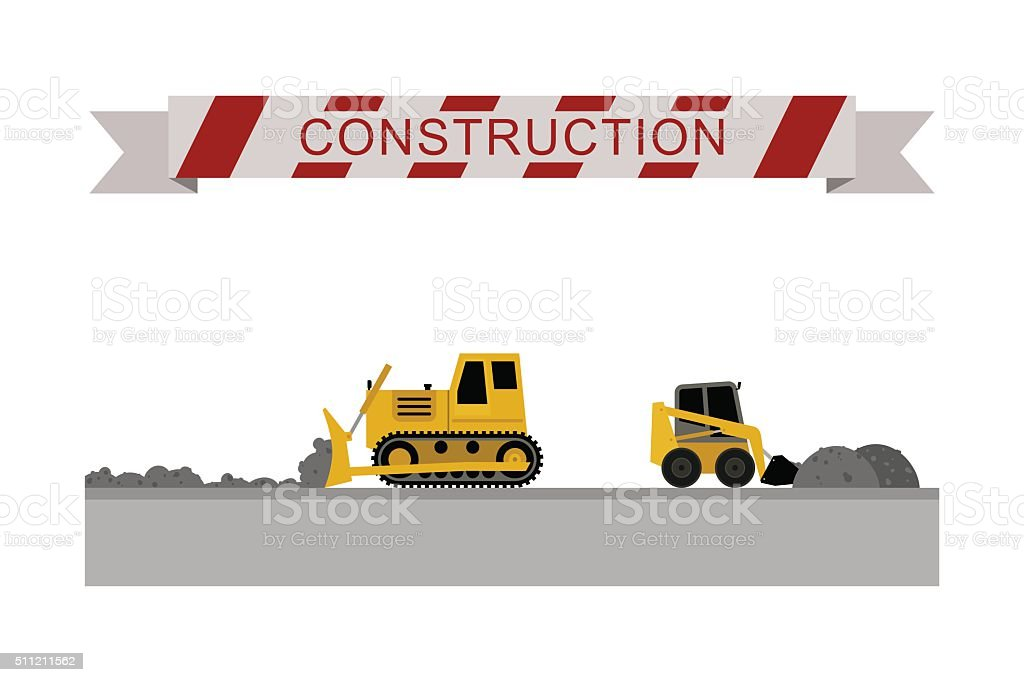 Construction machines icons. vector art illustration