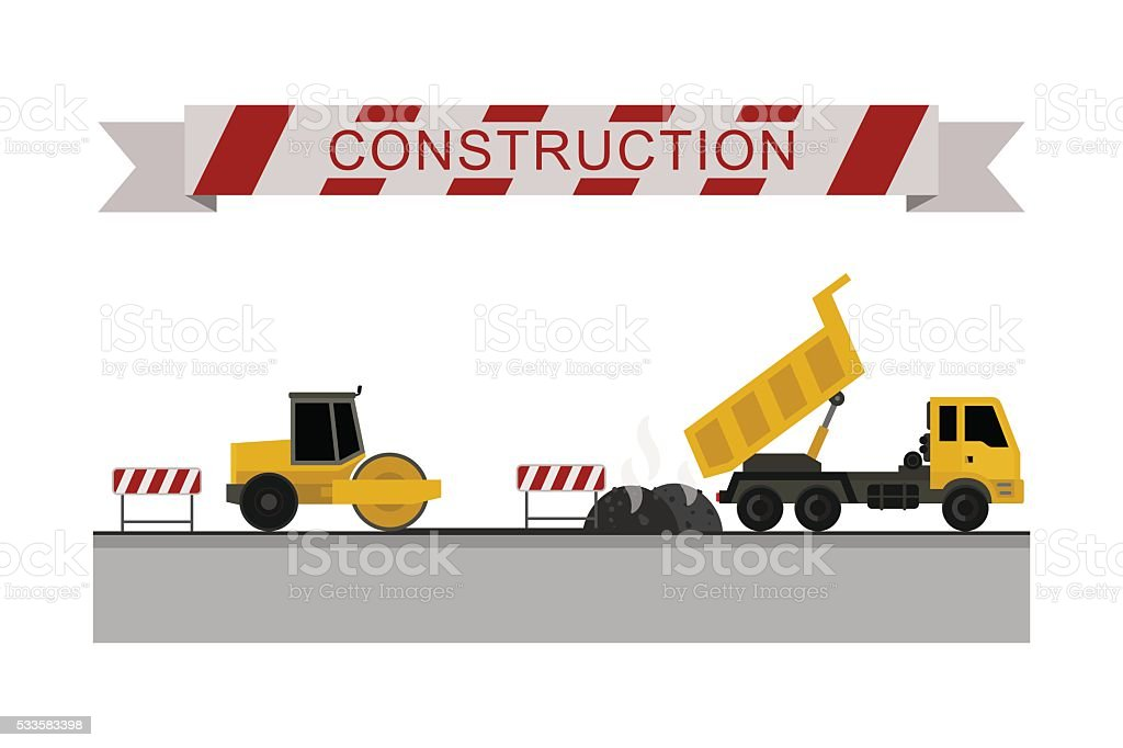Construction machines icons. vector art illustration