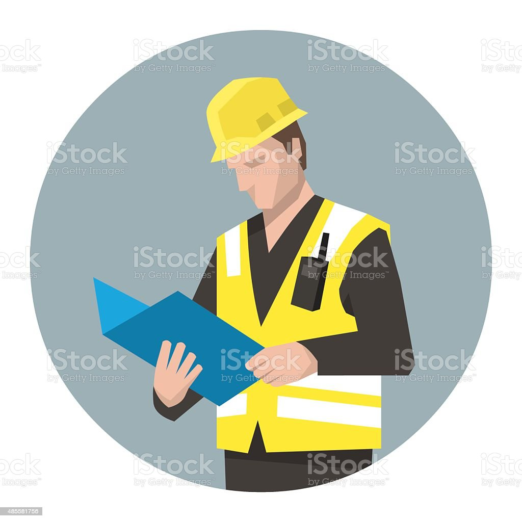 Construction manager controlling the project vector art illustration