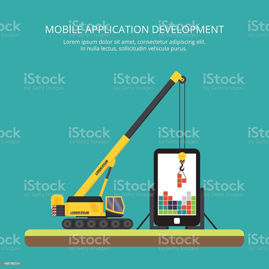 construction of mobile applications, crane. flat vector art illustration
