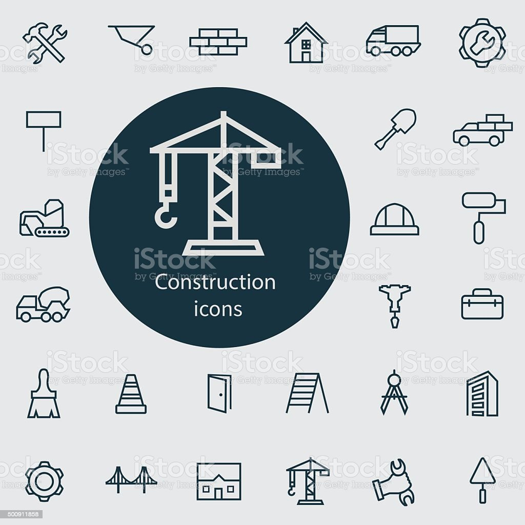 construction outline, thin, flat, digital icon set vector art illustration