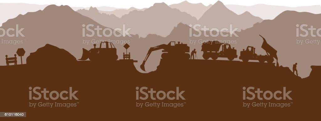 construction process silhouette vector art illustration