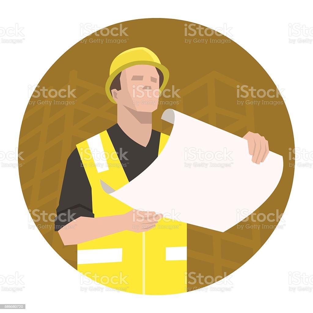 Construction project plan vector art illustration
