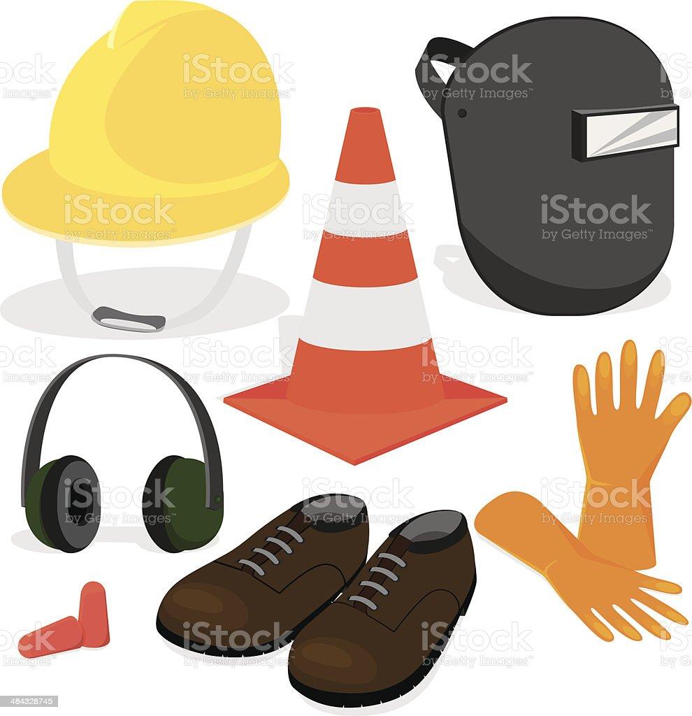 Construction protective gear vector art illustration