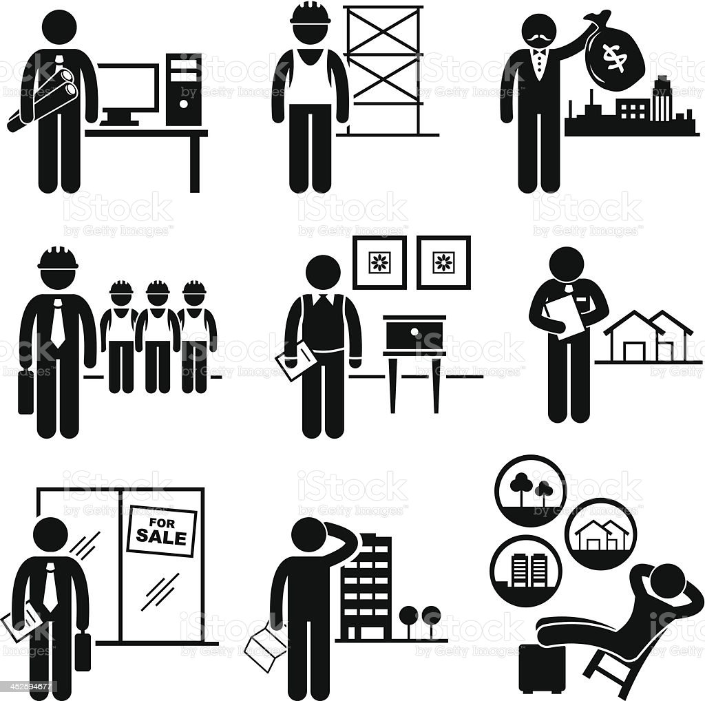 Construction Real Estates Jobs Occupations Careers vector art illustration