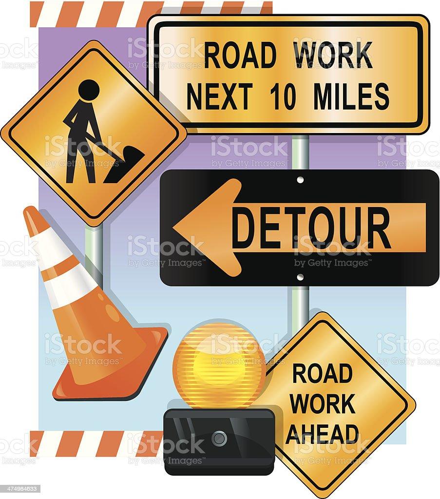 Construction Signs C vector art illustration