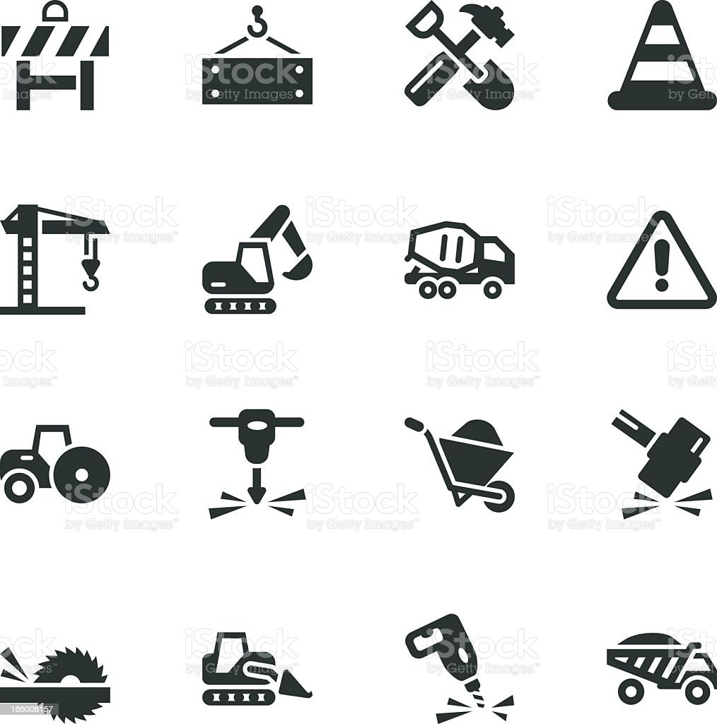 Construction Silhouette Icons royalty-free stock vector art