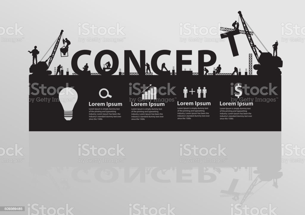 Construction site crane building concept text idea vector art illustration