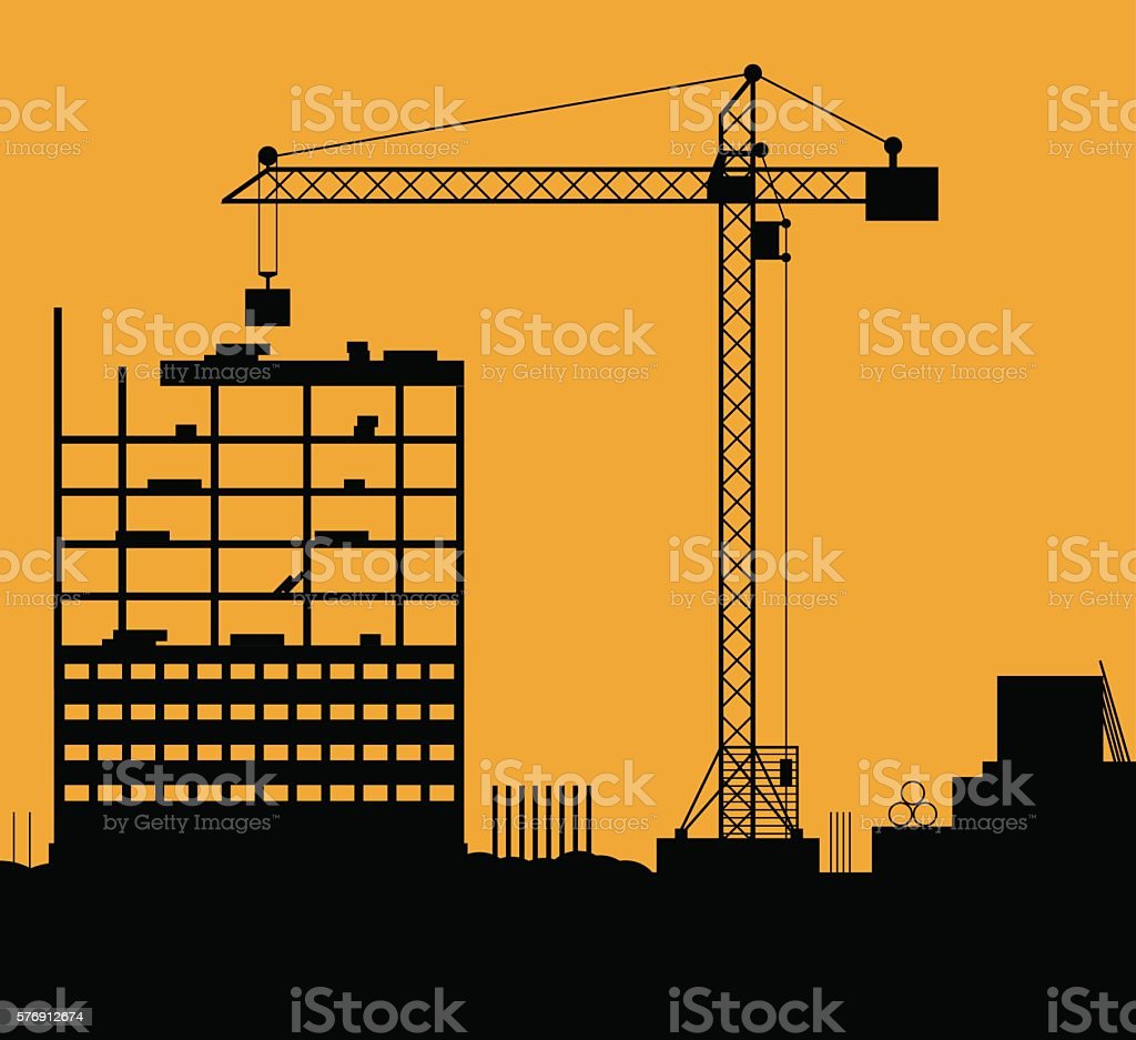 Construction site with buildings and cranes vector art illustration