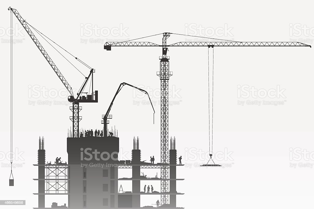 Construction Site with Tower Cranes vector art illustration