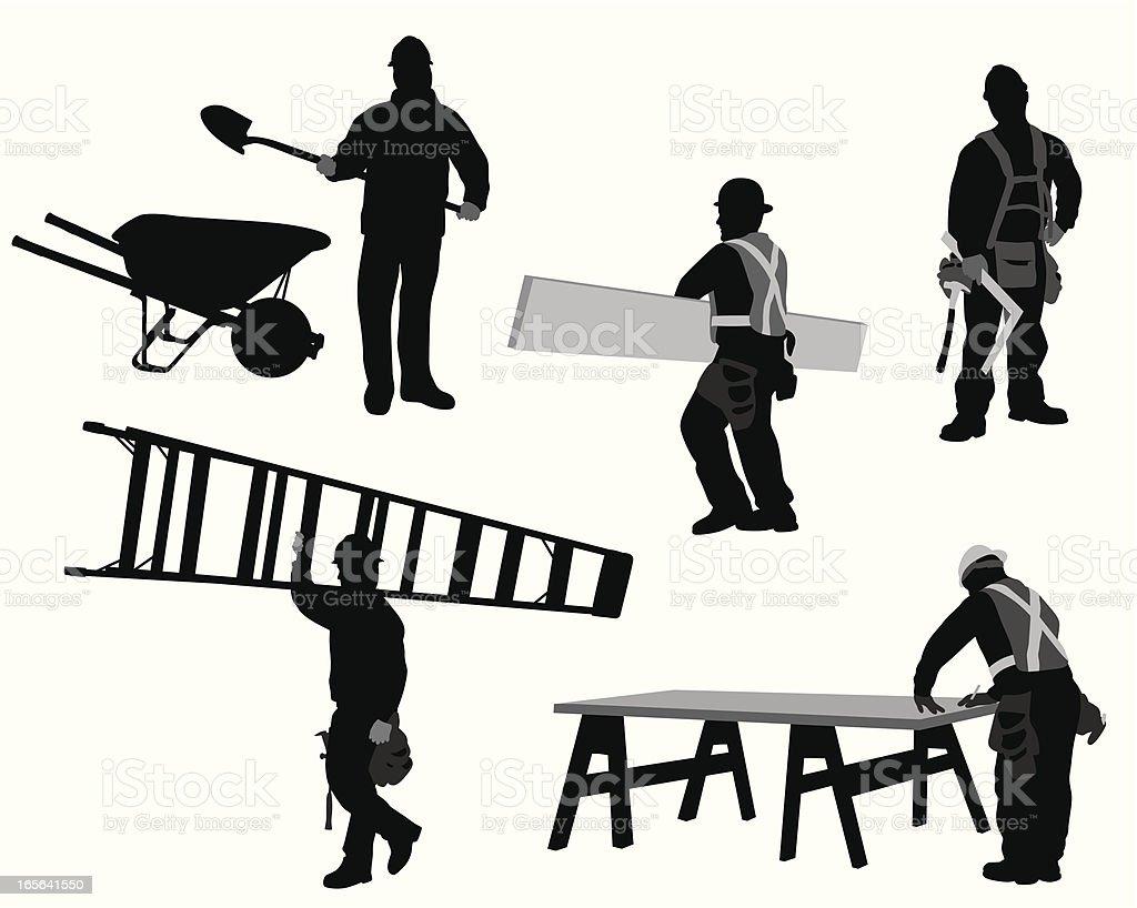 Construction Tasks Vector Silhouette vector art illustration