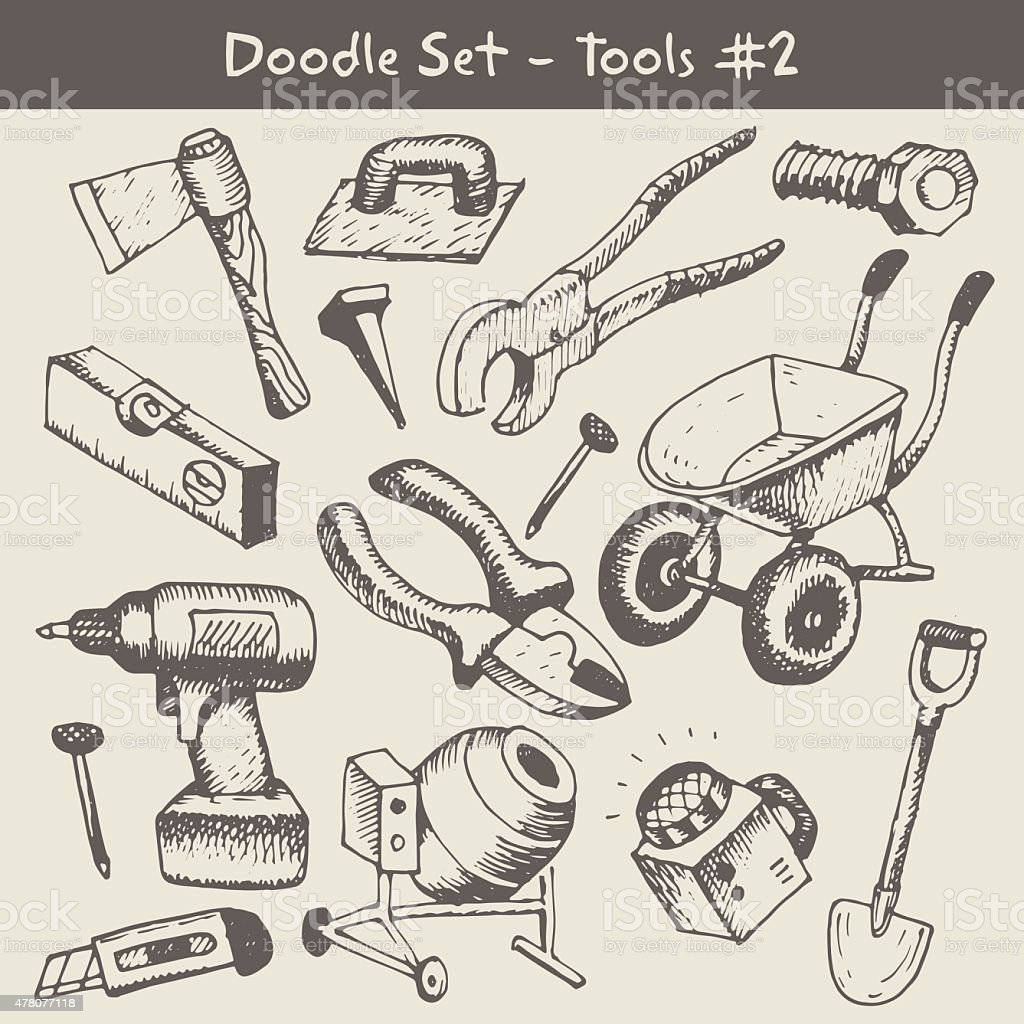 Construction tool collection vector art illustration