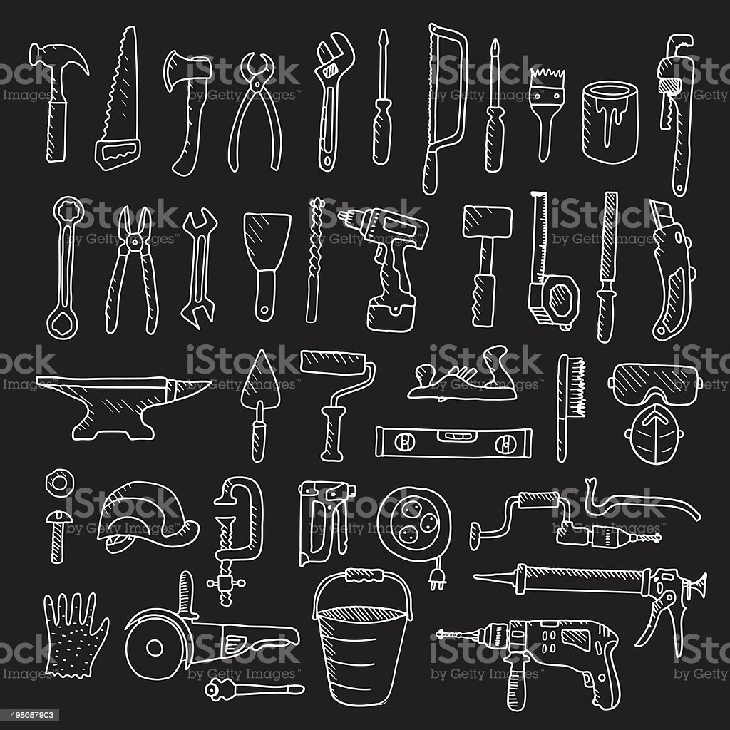 Construction tool collection - vector silhouette. vector art illustration
