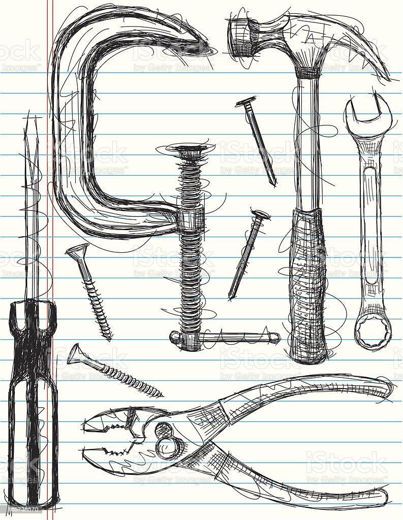 construction tool sketches vector art illustration