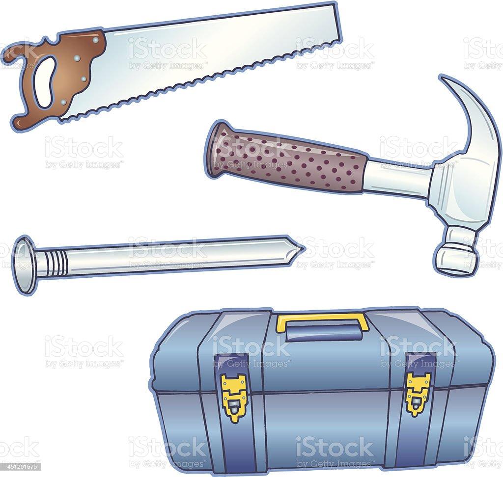 Construction Tools - Hammer, Saw, Nail, Toolbox vector art illustration