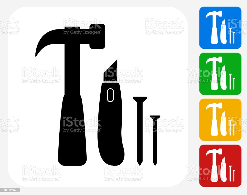 Construction Tools Icon Flat Graphic Design vector art illustration