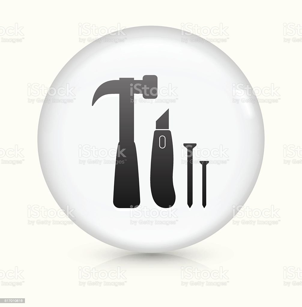 Construction Tools icon on white round vector button vector art illustration