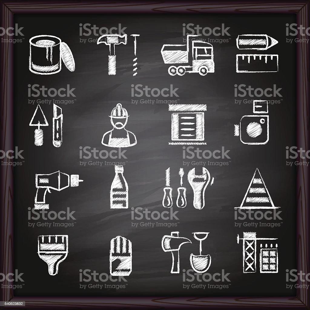 Construction Tools Icons on chalkboard vector art illustration