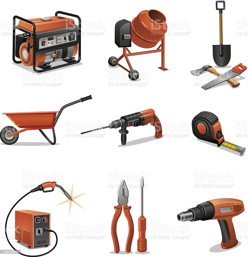 construction tools icons royalty-free stock vector art
