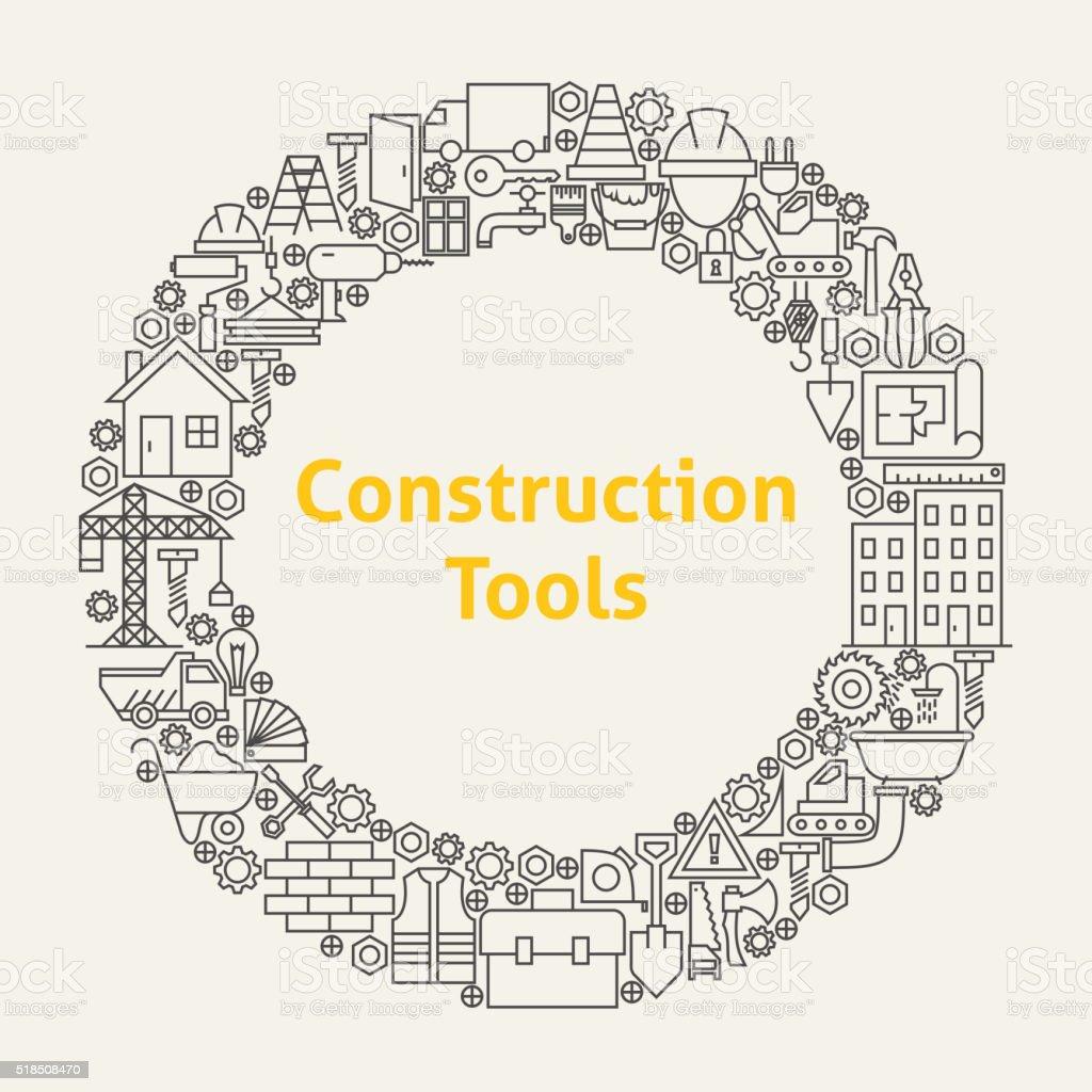 Construction Tools Line Art Icons Set Circle vector art illustration