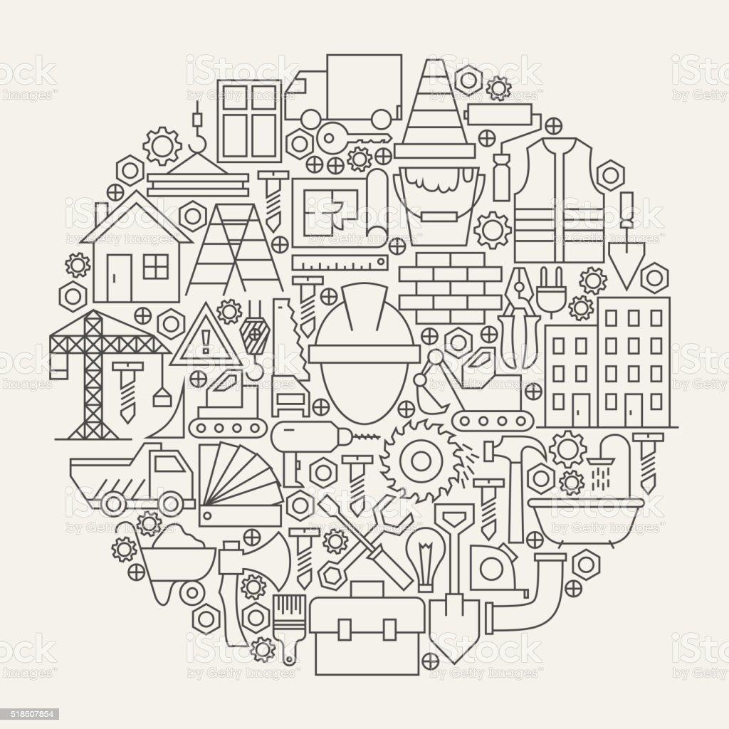 Construction Tools Line Icons Set Circle Shape vector art illustration