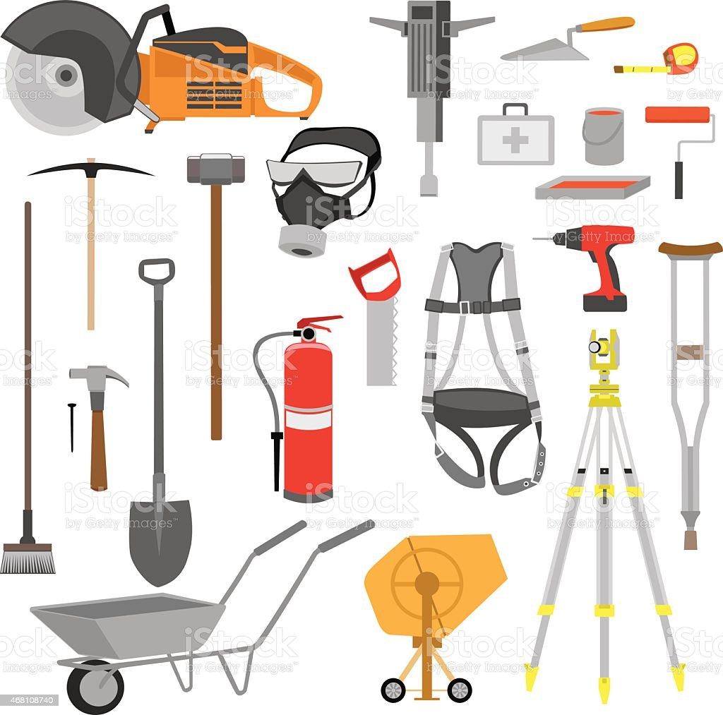Construction Tools Set Color vector art illustration
