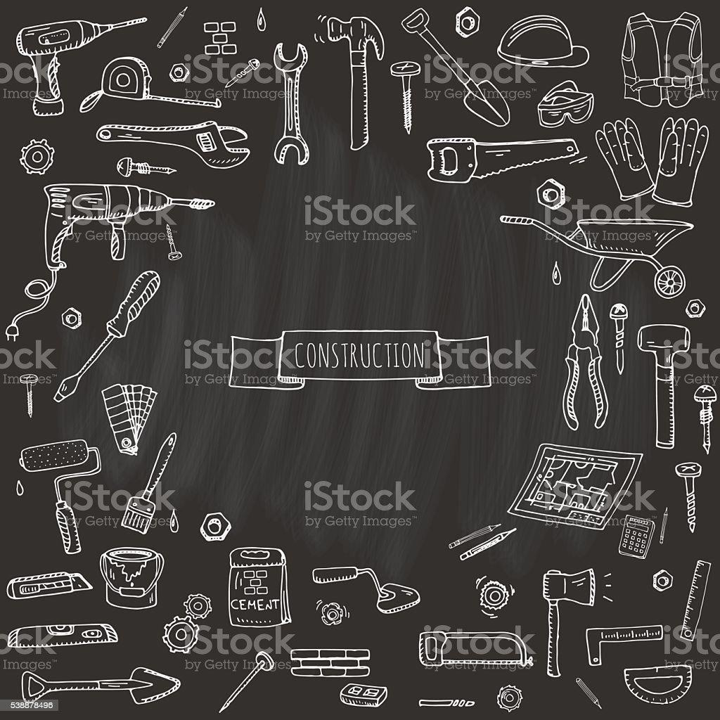 Construction tools set vector art illustration