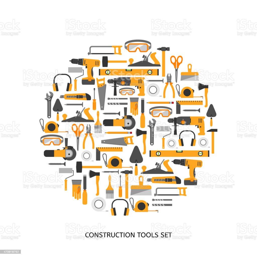 Construction tools vector icons set. vector art illustration