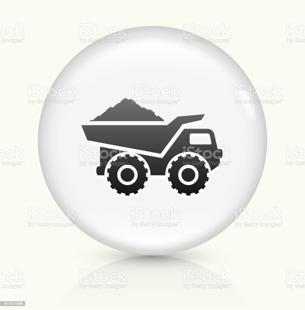 Construction Truck icon on white round vector button vector art illustration