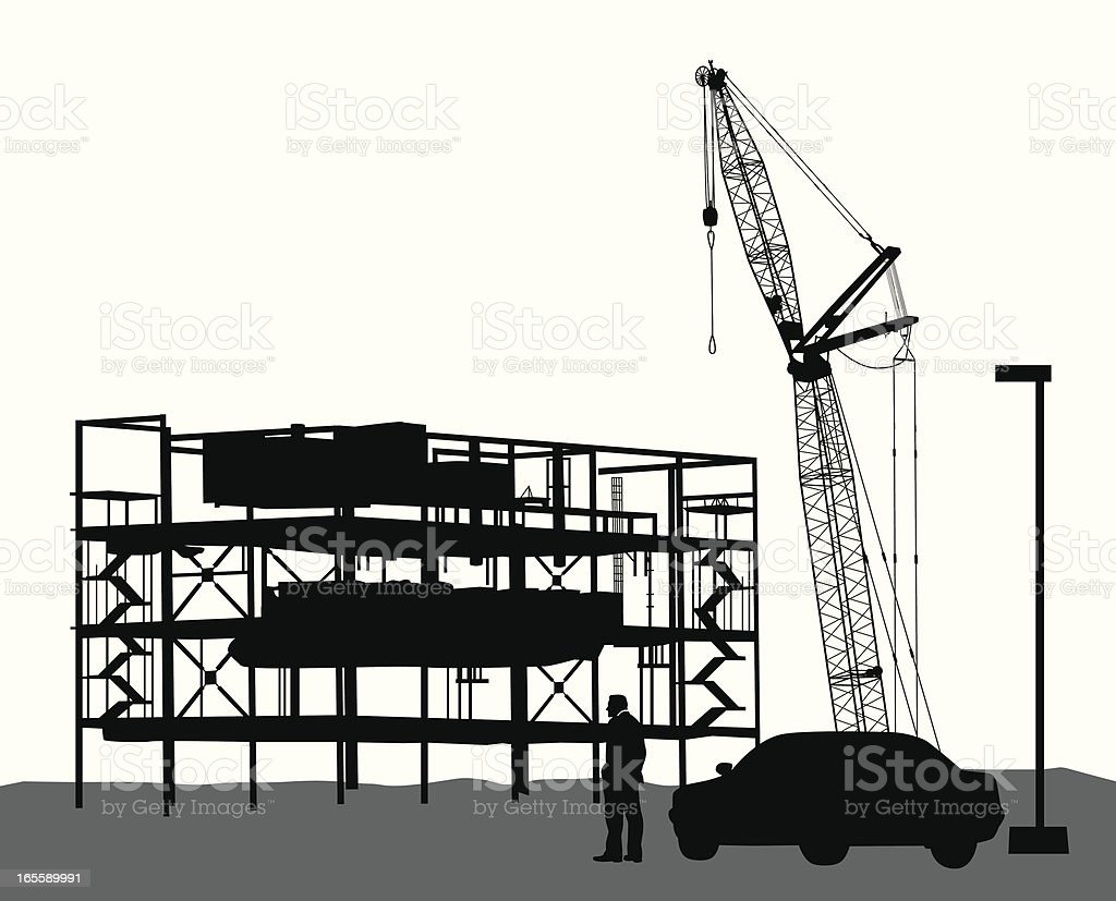 Construction Underway Vector Silhouette royalty-free stock vector art