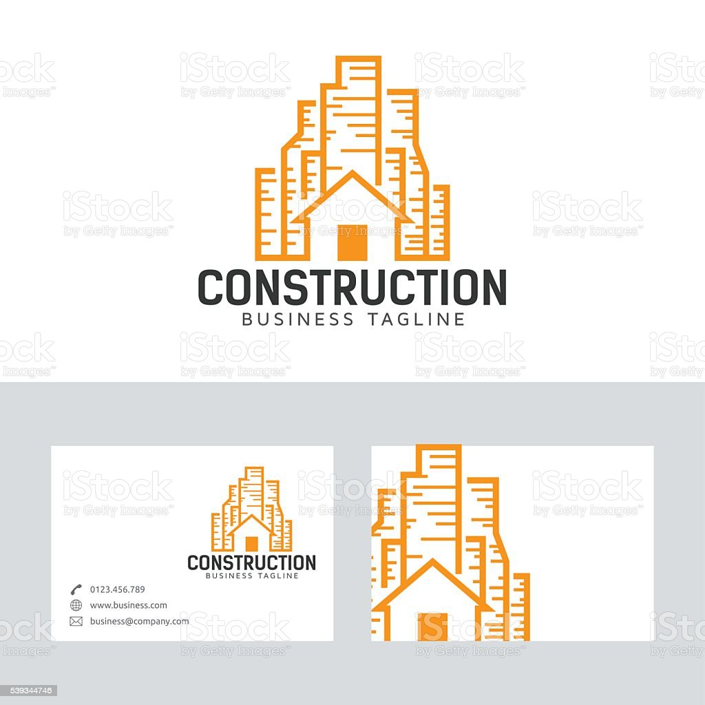 construction vector logo with business card template stock vector