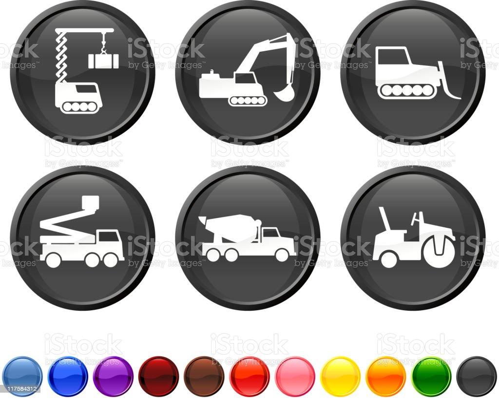 Construction vehicles icon set royalty-free stock vector art