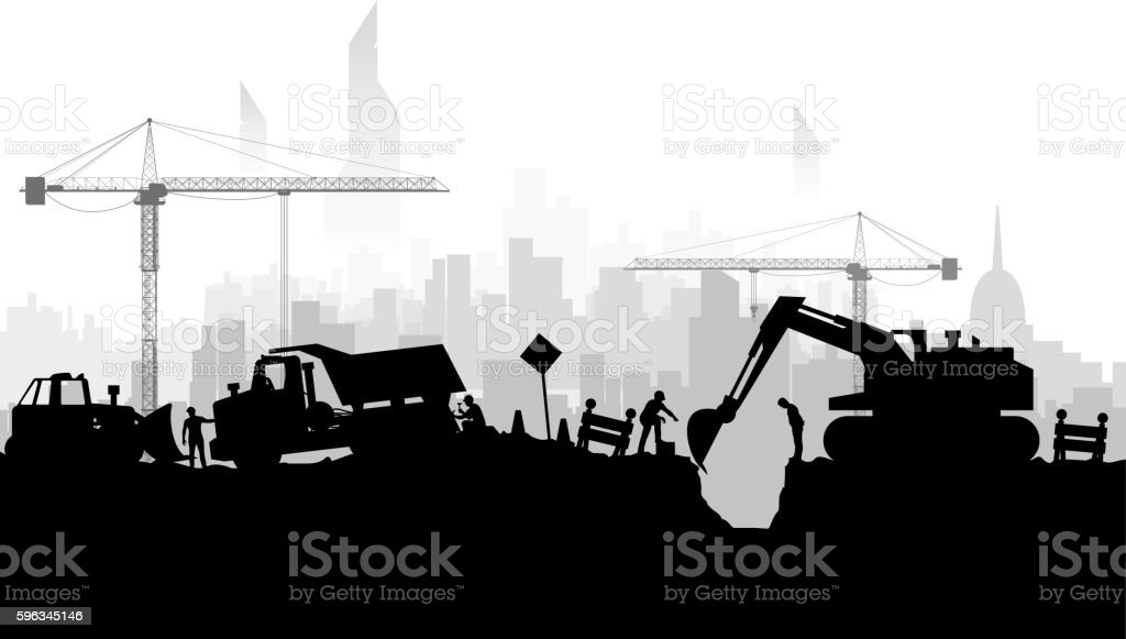 construction vehicles silhoette city vector art illustration