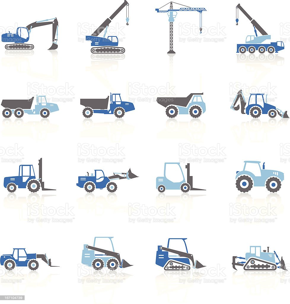 Construction Vehicles Silhouette - Blue Series vector art illustration