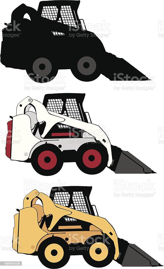 Construction Vehicles: Skid Steer Loader vector art illustration