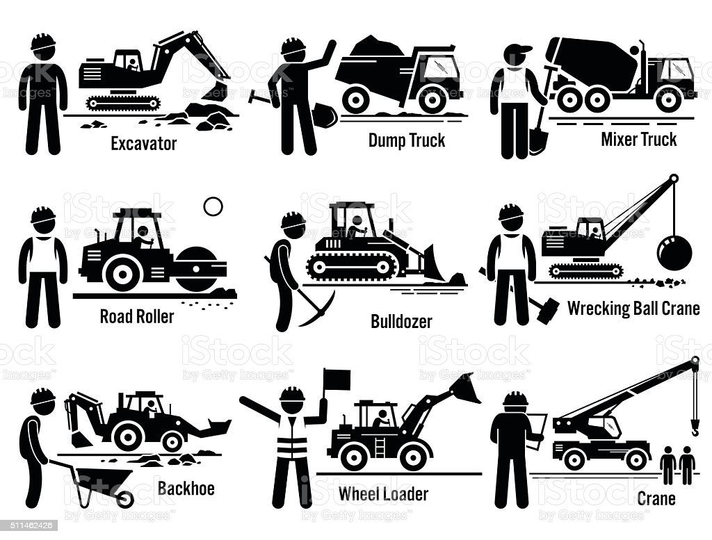 Construction Vehicles Transportation and Worker Set vector art illustration