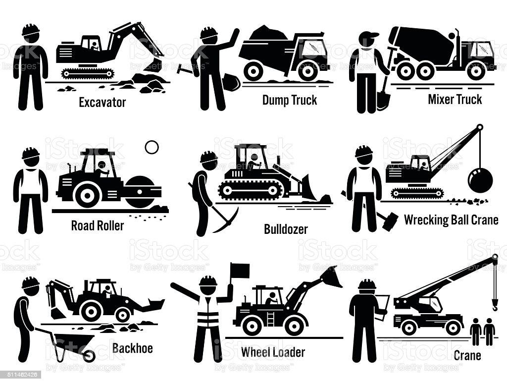 Construction Vehicles Transportation and Worker Set vector art illustration