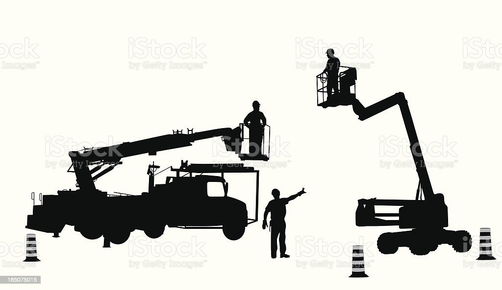 Construction Vehicles Vector Silhouette royalty-free stock vector art