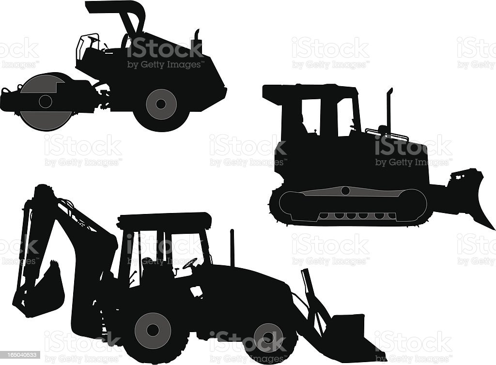 Construction Vehicles - Vector Silhouettes royalty-free stock vector art