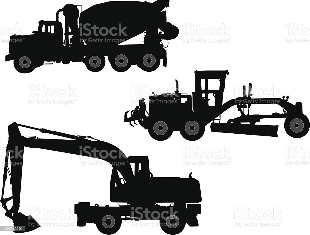 Construction Vehicles - Vector Silhouettes vector art illustration