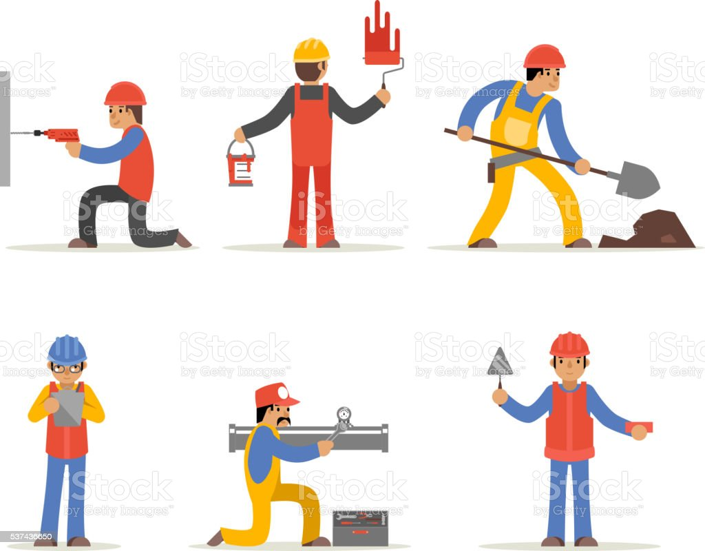 Construction worker, architect and engineer vector character vector art illustration