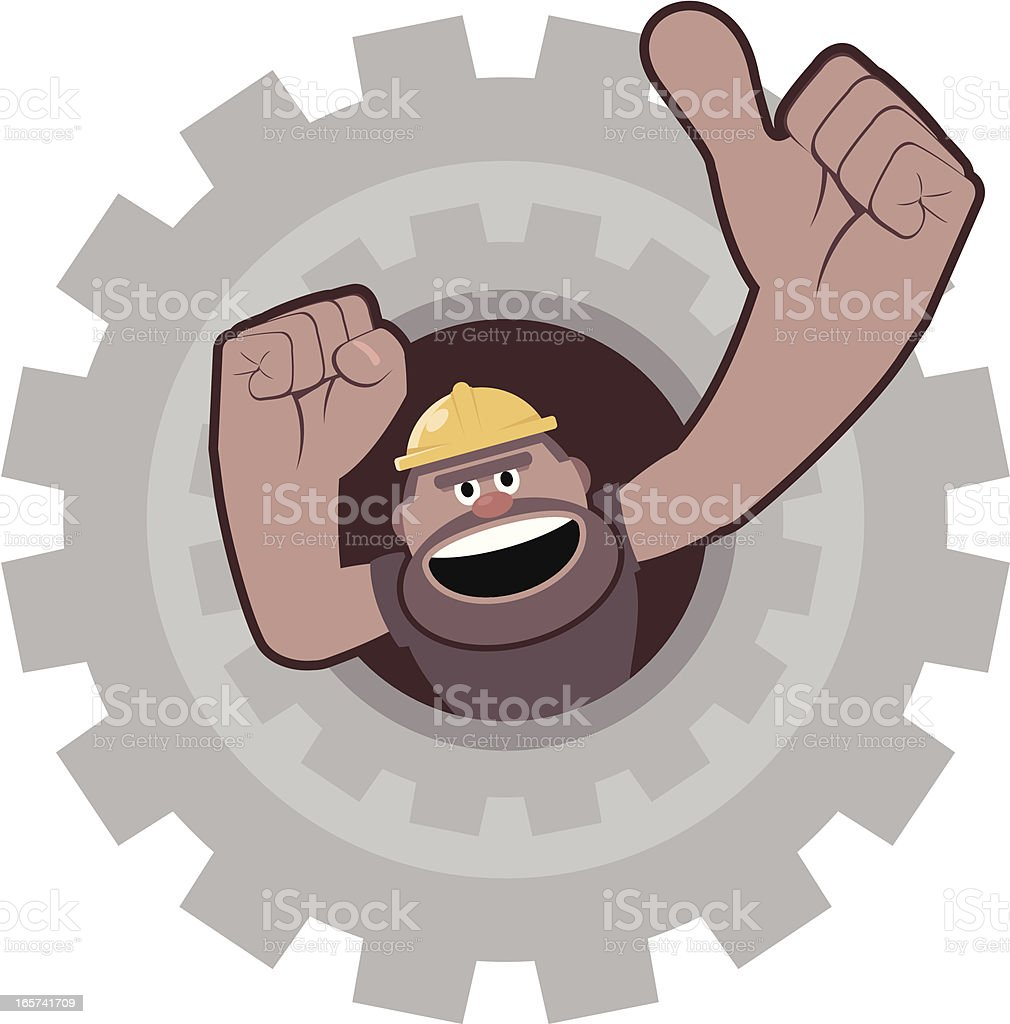 Construction Worker Gesturing Thumbs Up From Gear royalty-free stock vector art
