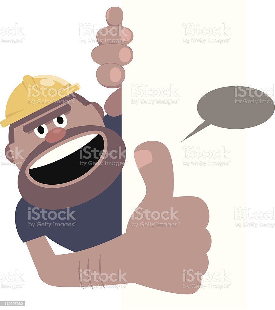 Construction Worker Gesturing Thumbs Up With Blank Sign royalty-free stock vector art