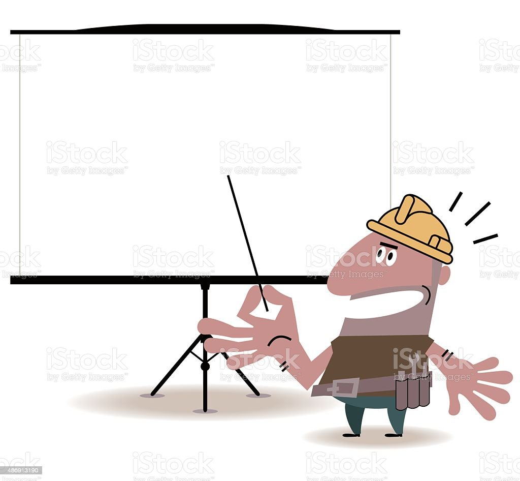 Construction Worker giving a presentation in a conference/meeting setting vector art illustration