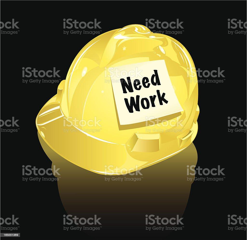 Construction Worker Hard Hat Needs Work royalty-free stock vector art